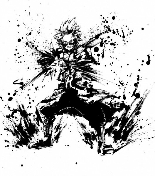 Tags: Anime, BONES (Studio), Boku no Hero Academia, Kirishima Eijirou, Sumi-e, Official Art, Line Art