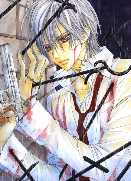 Tags: Anime, Hino Matsuri, Vampire Knight, Kiryuu Zero, Bloody Rose, Mobile Wallpaper, Official Art, Scan