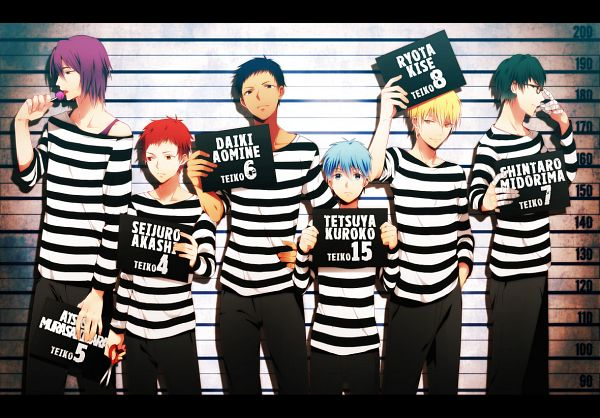 Tags: Anime, Bahiyama, Kuroko no Basuke, Kuroko Tetsuya, Kise Ryouta, Aomine Daiki, Murasakibara Atsushi, Midorima Shintarou, Akashi Seijuurou, Prisoner, Identity Parade, Prison Outfit, Height Chart, Generation Of Miracles