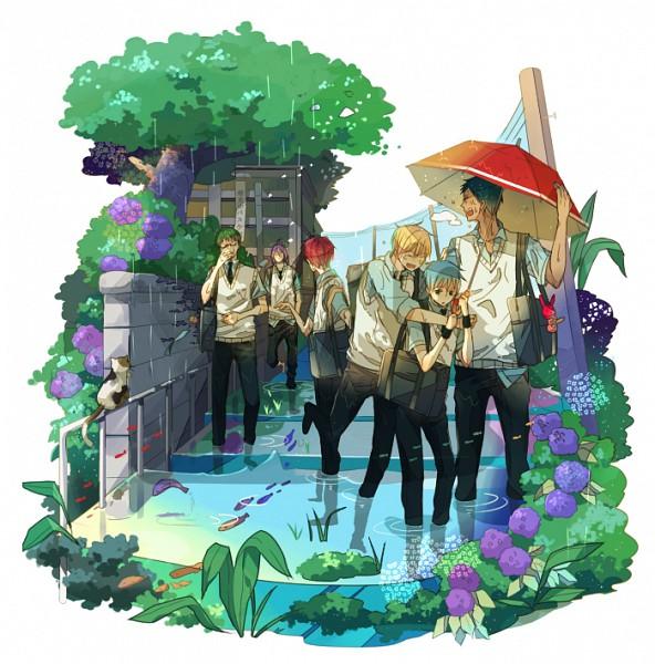 Tags: Anime, Saehina, Kuroko no Basuke, Aomine Daiki, Murasakibara Atsushi, Kuroko Tetsuya, Akashi Seijuurou, Midorima Shintarou, Kise Ryouta, Flood, Pounce, Pixiv, Fanart, Generation Of Miracles