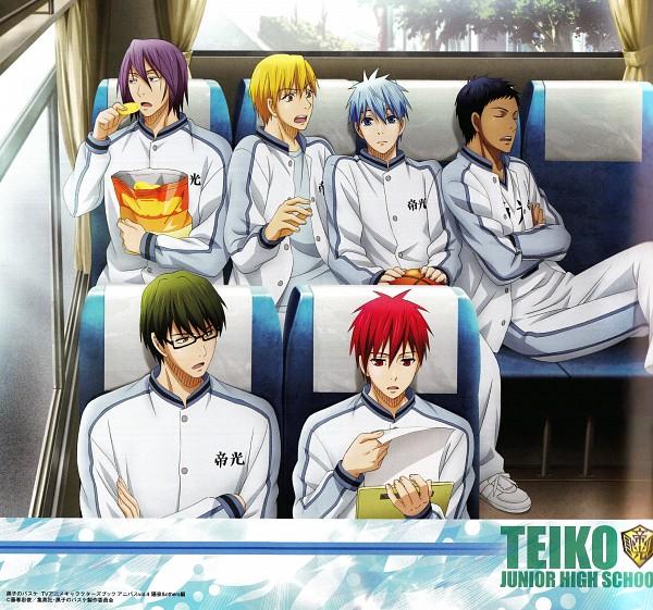 Tags: Anime, Production I.G., Kuroko no Basuke, Kise Ryouta, Aomine Daiki, Murasakibara Atsushi, Kuroko Tetsuya, Akashi Seijuurou, Midorima Shintarou, Bus Interior, Bus, Teikoku Uniform, Official Art, Generation Of Miracles