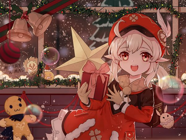 Tags: Anime, Pixiv Id 22749341, Genshin Impact, Klee (Genshin Impact), Mistletoe, Christmas Ornament, 1440x1080 Wallpaper, Berry, Wallpaper