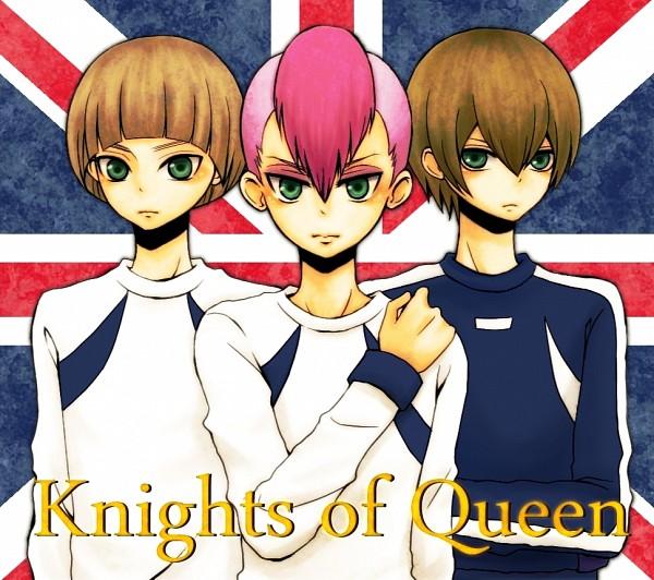 Tags: Anime, Pixiv Id 1345982, Inazuma Eleven, Paul Appleton, Gary Links, Gareth Barett, Flag Background, Undercut, Knights Of Queen Uniform, Pixiv, Fanart, Fanart From Pixiv, Knights of Queen