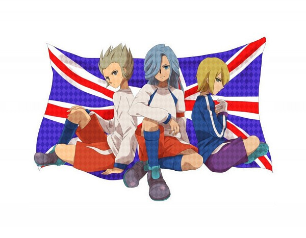 Tags: Anime, Inazuma Eleven, Philip Owen, Valtinas Edgar, Gareth Barett, Flag Background, Knights Of Queen Uniform, Fanart, Knights of Queen