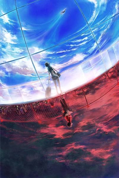 Tags: Anime, Wenqing Yan, Knite, Sen (Knite), Kai (Knite), Bright Colors, Pinwheel, Opposites, Kite, Red Sky, Suitcase, Dark Colors, Chain Link Fence