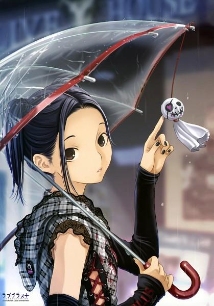 Tags: Anime, Mino Taro, Love Plus, Kobayakawa Rinko, Transparent Object, See Through Umbrella, Poking, Teru Teru Bouzu, Mobile Wallpaper