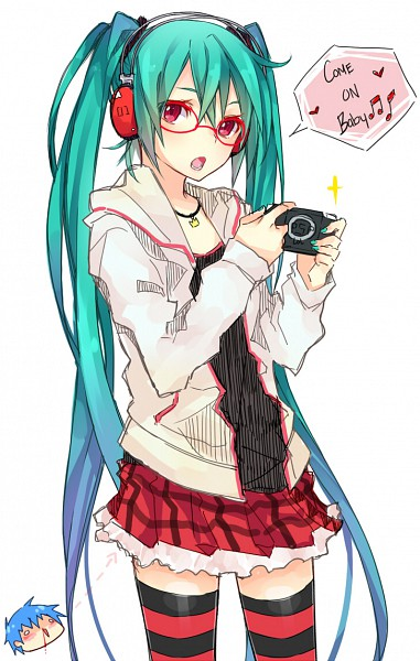 Tags: Anime, Curryuku, Project DIVA 2nd, VOCALOID, Hatsune Miku, KAITO, PSP, Kocchi Muite Baby, Mobile Wallpaper, Project DIVA Natural, Look This Way Baby