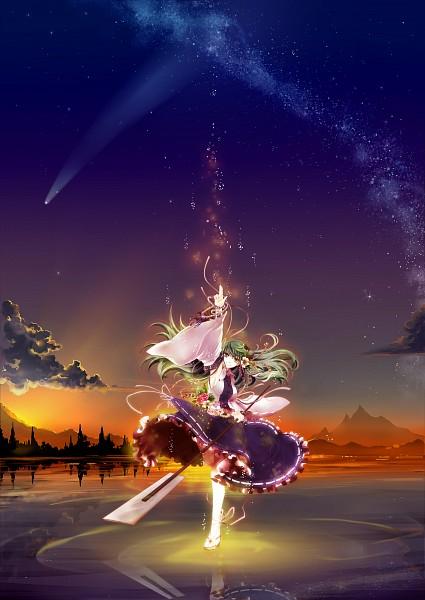 Tags: Anime, Socha, Touhou, Kochiya Sanae, Water Reflection, Mobile Wallpaper, Pixiv, Revision, Fanart From Pixiv, Fanart, Sanae Kochiya
