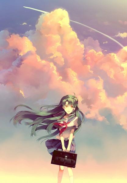 Tags: Anime, Sunakumo, Touhou, Kochiya Sanae, Holding Bag, Pixiv, Mobile Wallpaper, Sanae Kochiya