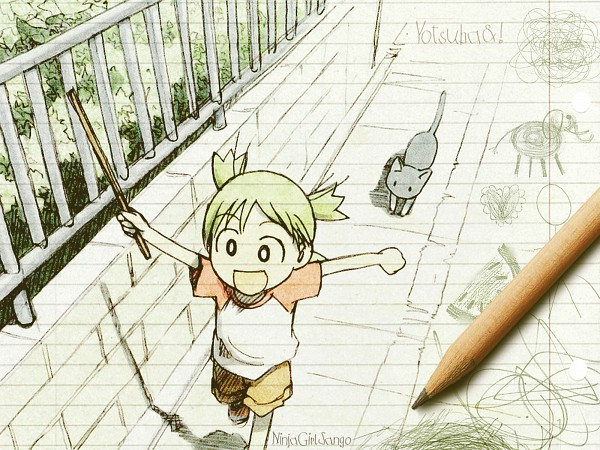 Tags: Anime, Azuma Kiyohiko, Yotsuba&!, Koiwai Yotsuba, Quad Tails, Fanmade Wallpaper, Wallpaper, Edited