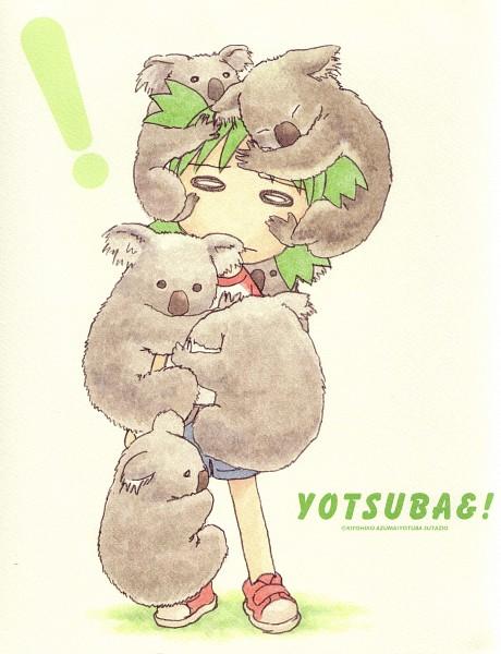 Tags: Anime, Azuma Kiyohiko, Yotsuba&!, Koiwai Yotsuba, Quad Tails, Koala, Official Art, Scan
