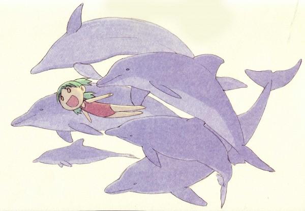 Tags: Anime, Azuma Kiyohiko, Yotsuba&!, Koiwai Yotsuba, Dolphin, Quad Tails, Swimming, Official Art