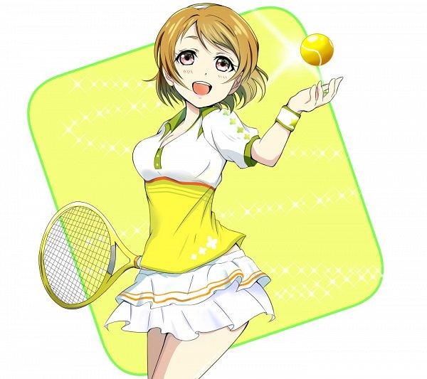 Tags: Anime, Pixiv Id 3865344, Love Live!, Koizumi Hanayo, Tennis Racket, Tennis, Fanart, Pixiv, Fanart From Pixiv