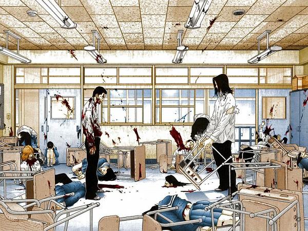 Tags: Anime, GANTZ, Izumi Shion, Kojima Tae, School Desk, Murder, Wallpaper