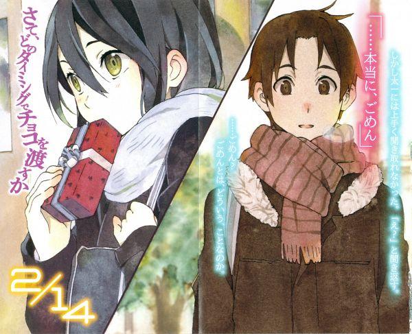 Tags: Anime, Horiguchi Yukiko, Kokoro Connect, Yaegashi Taichi, Inaba Himeko, Novel Illustration, Official Art