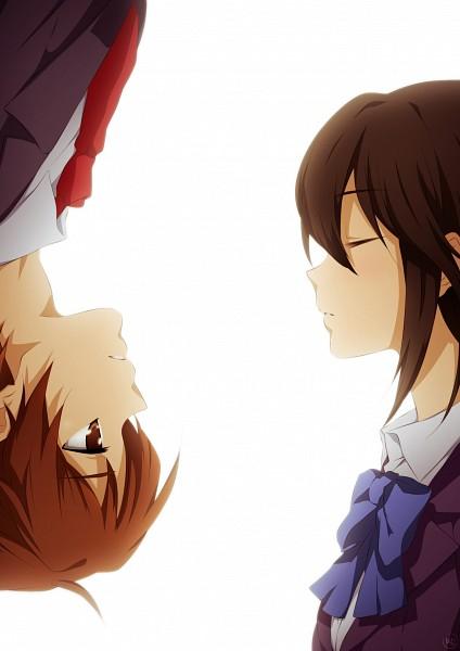 Tags: Anime, Von-Cx, Kokoro Connect, Yaegashi Taichi, Inaba Himeko, Mobile Wallpaper