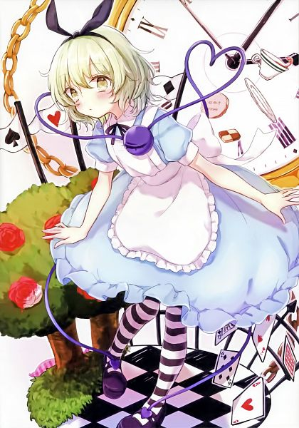 Tags: Anime, Honotai, Touhou, Komeiji Koishi, Alice (Alice in Wonderland) (Cosplay), Rose Bush, Scan, Fanart, Koishi Komeiji