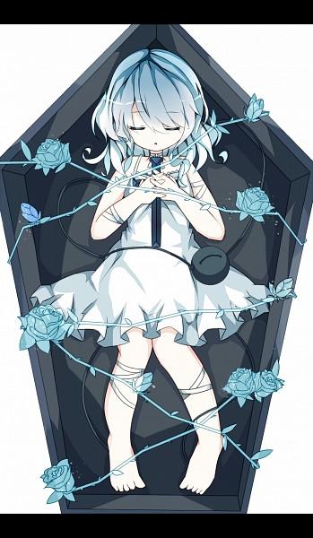 Tags: Anime, Nekokyu, Touhou, Komeiji Koishi, Coffin, Fanart, Pixiv, Mobile Wallpaper, Fanart From Pixiv, PNG Conversion, Koishi Komeiji