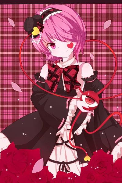 Tags: Anime, Ura1011, Touhou, Komeiji Satori, Plaid Background, Pixiv, Fanart From Pixiv, PNG Conversion, Fanart, Satori Komeiji