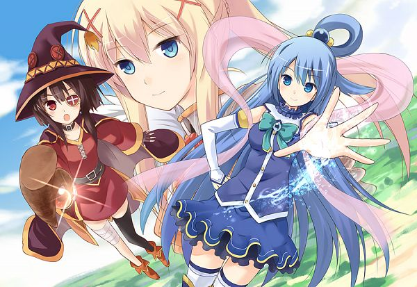 Tags: Anime, Watari Masahito, Kono Subarashii Sekai ni Shukufuku wo!, Megumin, Lalatina Dustiness Ford, Aqua (KonoSuba), Official Art