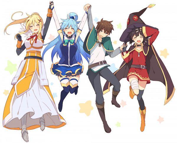 Tags: Anime, Mishima Kurone, Kono Subarashii Sekai ni Shukufuku wo!, Megumin, Lalatina Dustiness Ford, Satou Kazuma, Aqua (KonoSuba), PNG Conversion, Official Art