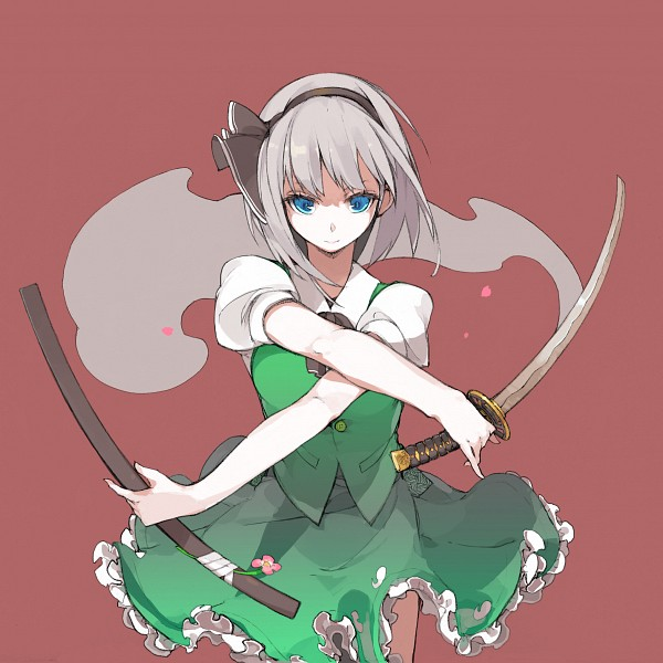 Tags: Anime, Sakura Sora, Touhou, Konpaku Youmu, Myon, Pixiv, PNG Conversion, Fanart, Youmu Konpaku