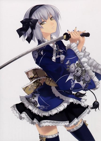 Tags: Anime, Rokuwata Tomoe, Touhou, Konpaku Youmu, Scan, Mobile Wallpaper, Youmu Konpaku