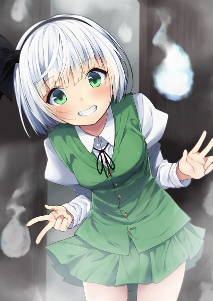 Tags: Anime, Nigou (Aozoragarou), Touhou, Konpaku Youmu, Three Gesture, Green Vest, Fanart From Pixiv, Fanart, Pixiv, Youmu Konpaku