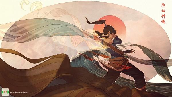 Tags: Anime, Dctb, Avatar: The Legend of Korra, Korra, Waves, Surreal, Pelt, Tsunami, Rising Sun Motif, Element Bending, Fanart, deviantART, Facebook Cover