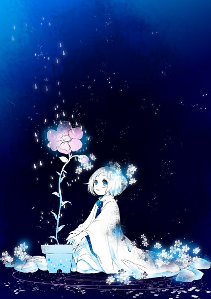 Tags: Anime, Koto Koto, Sitting In Water, Potted Plant, Bioluminescence, Mobile Wallpaper, Pixiv, Original