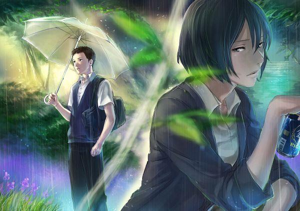 Tags: Anime, Tetsu420, Kotonoha no Niwa, Takao Akizuki, Yukino Yukari, Transparent Object, Beer, See Through Umbrella, Pixiv, Fanart, Fanart From Pixiv