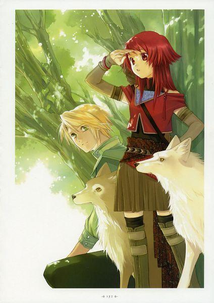 Tags: Anime, Shiina Yuu, Kouga no Ruby Wolf, Garnet - You Shiina's Illustrations, Jade Korkott, Shatina Ray Scarlett Gradius, Qena, Frost (Kouga no Ruby Wolf), Official Art, Scan