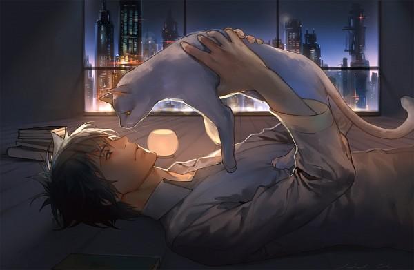 Tags: Anime, Naked Cat, PSYCHO-PASS, Kougami Shinya, White Cat, Pixiv, Fanart