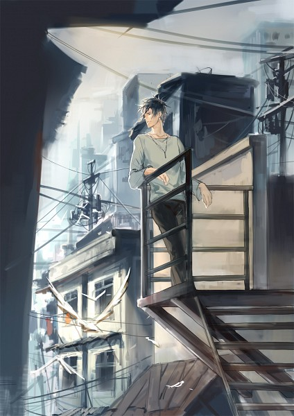 Tags: Anime, Naked Cat, PSYCHO-PASS, Kougami Shinya, Power Lines, Utility Pole, Mobile Wallpaper, Pixiv, Fanart From Pixiv, Fanart