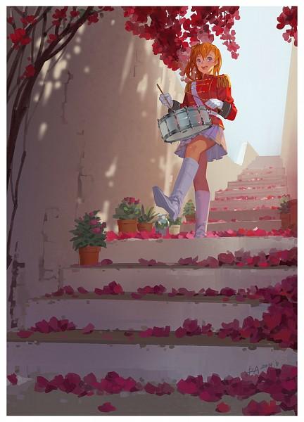 Tags: Anime, Alphonse, Love Live!, Kousaka Honoka, Drum, Band Uniform, Potted Plant, Musician, Drumsticks, Leg in Air, Fanart, Fanart From DeviantART, Mobile Wallpaper, Honoka Kousaka