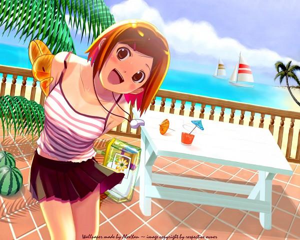 Tags: Anime, Koutaro, Nijiiro Densho, Whistle (Object), Camisole, Balloon Animal, Patio, Picnic Table, Wallpaper, Pixiv, Original