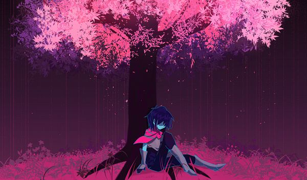 Tags: Anime, Pixiv Id 12771796, Deltarune, Kris (Deltarune), Aqua Skin, Sitting On Grass, Under A Tree, Fanart From Pixiv, Pixiv, Fanart