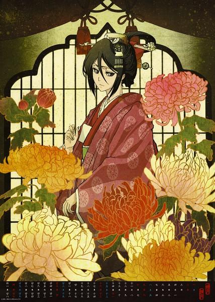Tags: Anime, BLEACH Calendar 2011, BLEACH, Kuchiki Rukia, Chrysanthemum, Mobile Wallpaper, Calendar 2011, Calendar (Source), Official Art