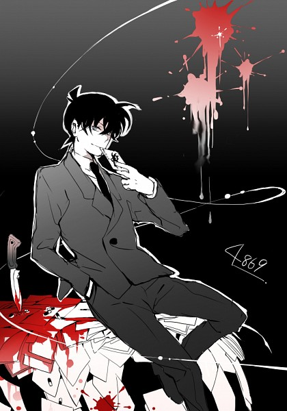 Tags: Anime, rain_drops-ame, Meitantei Conan, Kudou Shinichi, Sitting On Table, Pills, Pixiv, Fanart From Pixiv, Fanart, Mobile Wallpaper, Jimmy Kudo
