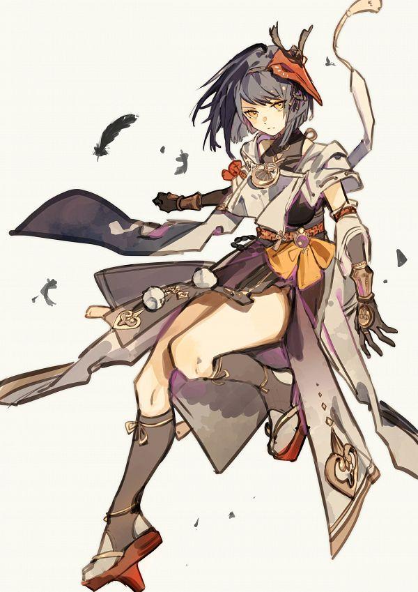 Tags: Anime, Kuunog, Genshin Impact, Kujou Sara, Tengu Mask, Mobile Wallpaper, Twitter, Wallpaper, Fanart