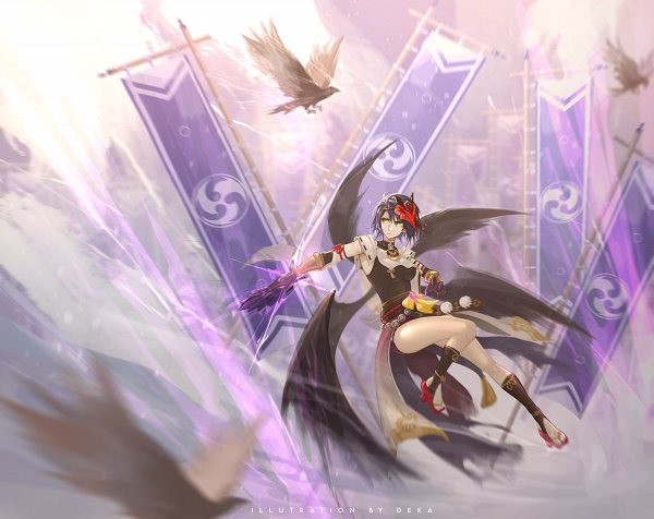 Tags: Anime, Pixiv Id 61203005, Genshin Impact, Kujou Sara, Fanart From Pixiv, Pixiv, Fanart