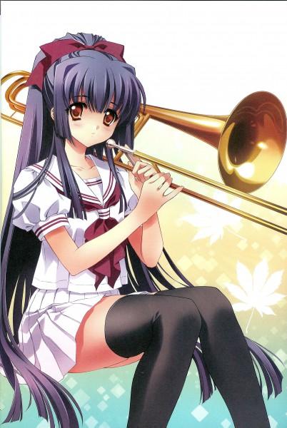 Tags: Anime, CARNELIAN, Kao no nai Tsuki, Kuraki Suzuna, Trombone, Mobile Wallpaper