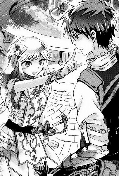 Tags: Anime, Miyuki Ruria, Kuro no Hiera Glaphicos, Valeria Costacurta, Dimitar Richternach, Official Art, Scan, Novel Illustration