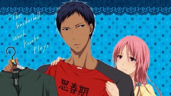 Tags: Anime, Yuzu Mikoto, Kuroko no Basuke, Momoi Satsuki, Aomine Daiki, Clothes Hanger, Fanart From Pixiv, PNG Conversion, Pixiv, Fanart, Facebook Cover, Kuroko's Basketball