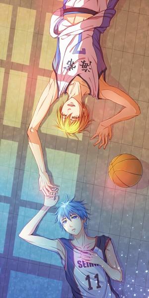 Tags: Anime, Pixiv Id 305410, Kuroko no Basuke, Kuroko Tetsuya, Kise Ryouta, Touching Fingers, Basketball Uniform (Kaijou High), Fanart From Pixiv, Pixiv, Fanart, Kiseki no Sedai, Kuroko's Basketball