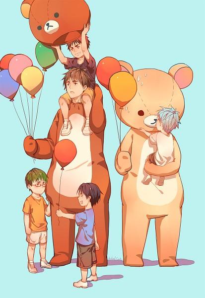 Tags: Anime, Naked Cat, Kuroko no Basuke, Midorima Shintarou, Takao Kazunari, Kiyoshi Teppei, Kagami Taiga, Kuroko Tetsuya, Rilakkuma (Cosplay), Bear Costume, Fanart, Mobile Wallpaper, Kuroko's Basketball