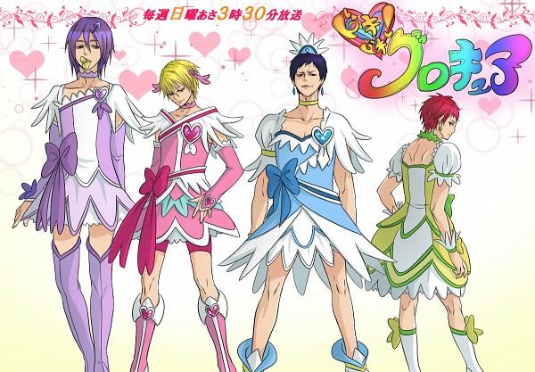 Tags: Anime, Marichi, Kuroko no Basuke, Kise Ryouta, Akashi Seijuurou, Aomine Daiki, Murasakibara Atsushi, Cure Sword (Cosplay), Cure Heart (Cosplay), Cure Rosetta (Cosplay), Spade (Card), Cure Diamond (Cosplay), Fanart, Kuroko's Basketball