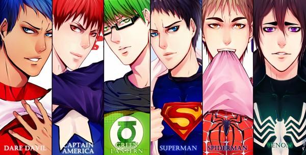 Tags: Anime, Akubaka, Kuroko no Basuke, Kiyoshi Teppei, Aomine Daiki, Hanamiya Makoto, Kagami Taiga, Midorima Shintarou, Kasamatsu Yukio, Superman (Cosplay), Green Lantern (Cosplay), Captain America (Cosplay), Daredevil (Cosplay), Kuroko's Basketball