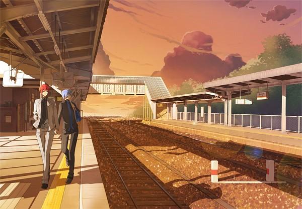 Tags: Anime, Pixiv Id 41089, Kuroko no Basuke, Akashi Seijuurou, Kuroko Tetsuya, Railroad Tracks, Train Station, Pixiv, Fanart, Kuroko's Basketball