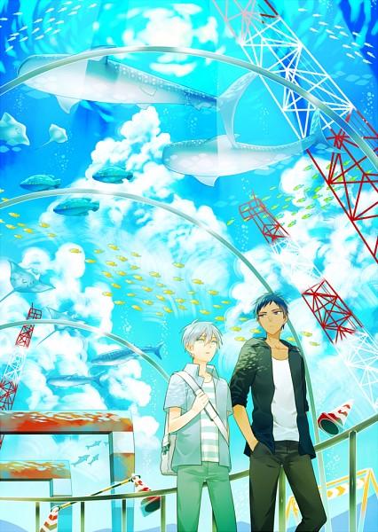 Tags: Anime, Yumecocco, Kuroko no Basuke, Aomine Daiki, Kuroko Tetsuya, Aquarium, Holding Bag, PNG Conversion, Pixiv, Mobile Wallpaper, Fanart, Fanart From Pixiv, Kuroko's Basketball
